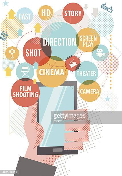 film making on smartphone - film studio stock illustrations, clip art, cartoons, & icons