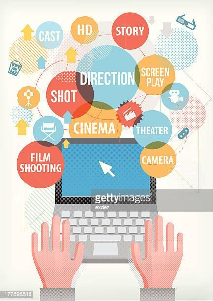 film making terms on laptop - film script stock illustrations, clip art, cartoons, & icons