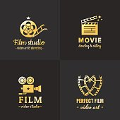 Film, movie and video icon vintage vector set. Part one.