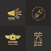 Film, movie and video icon vintage vector set. Part two.