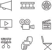 Film, movie and video outline icons vector set. Minimalistic design.