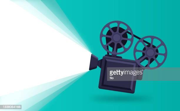 bildbanksillustrationer, clip art samt tecknat material och ikoner med film movie camera background - film and television screening