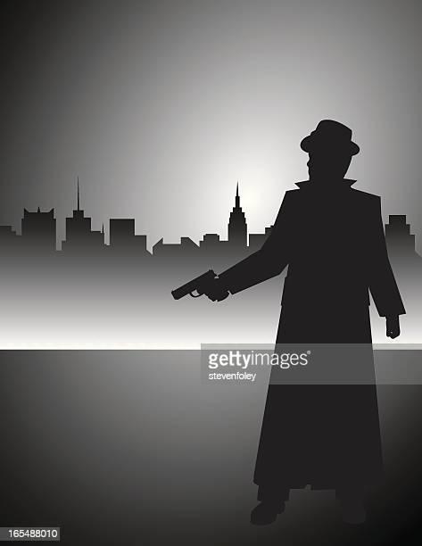 film noir detective gunman - murder stock illustrations, clip art, cartoons, & icons