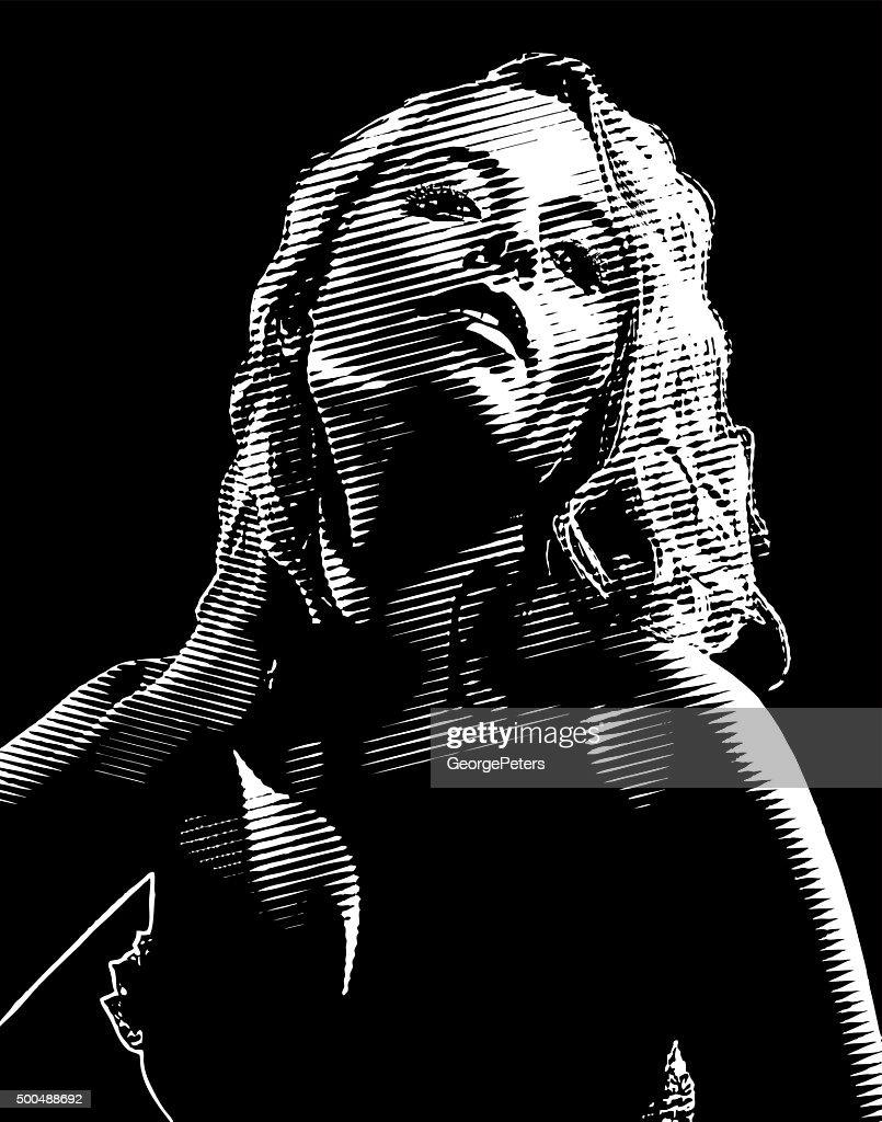 Film Noir Engraving Portrait of Beautiful Actress Wearing Lingerie