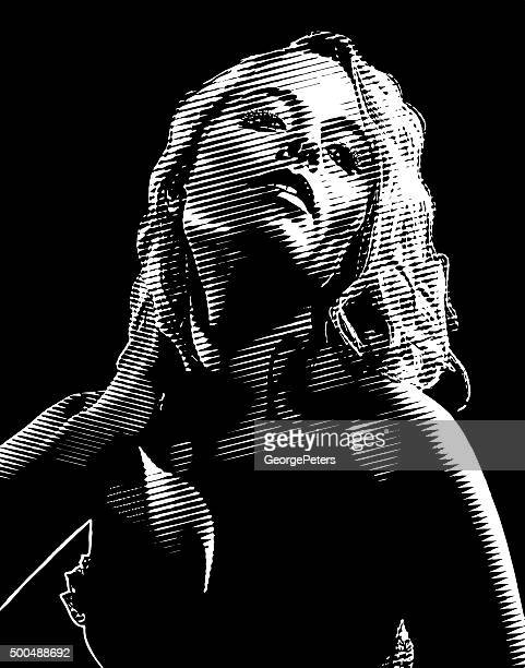 Film Noir Engraving Portrait of Beautiful Actress Wearing Lingerie