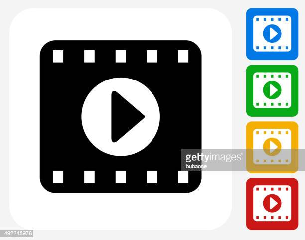 Film Play Icon Flat Graphic Design