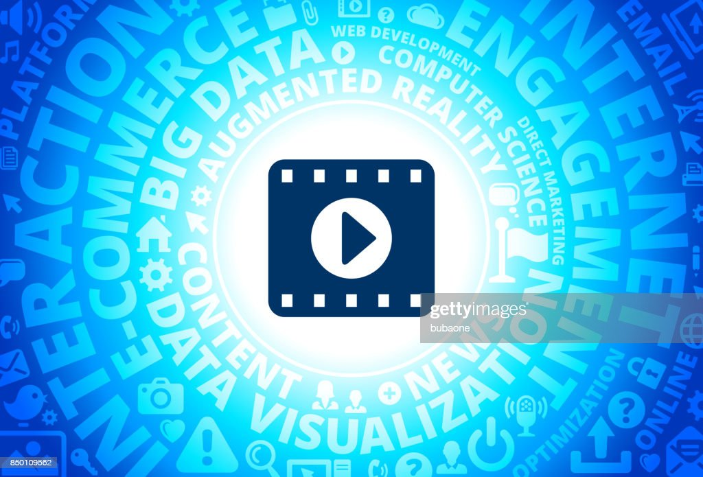 Film Play Icon on Internet Modern Technology Words Background : stock vector