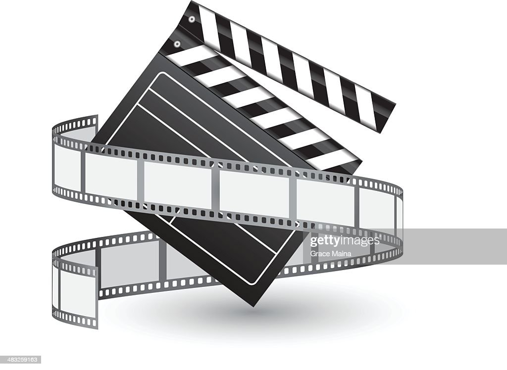Film reel and clapper - VECTOR : stock illustration