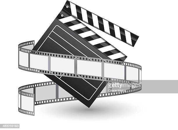 film reel and clapper - vector - film industry stock illustrations