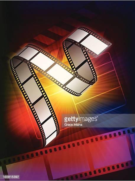 ilustraciones, imágenes clip art, dibujos animados e iconos de stock de fondo de vector de cinta de película - rollo de cine