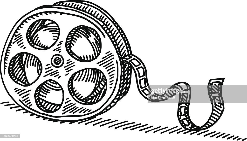 film reel drawing vector art getty images