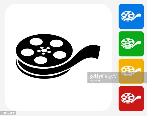 Film Reel Icon Flat Graphic Design