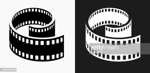 Film Reel Icon on Black and White Vector Backgrounds