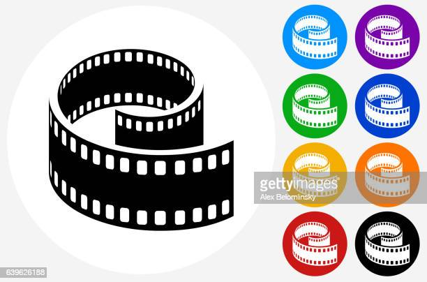 film reel icon on flat color circle buttons - bright 2017 film点のイラスト素材/クリップアート素材/マンガ素材/アイコン素材