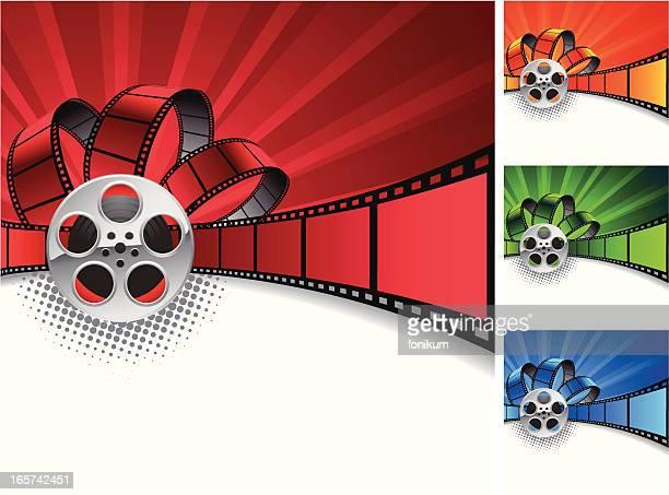 ilustraciones, imágenes clip art, dibujos animados e iconos de stock de carrete de película, en el fondo rojo - rollo de cine