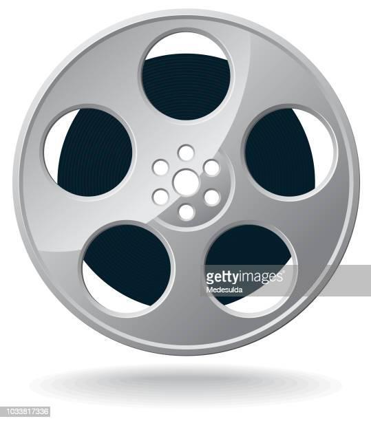 ilustraciones, imágenes clip art, dibujos animados e iconos de stock de película carrete rollo icono vector - rollo de cine