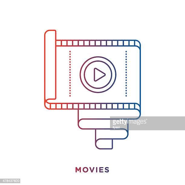 ilustraciones, imágenes clip art, dibujos animados e iconos de stock de símbolo de rollo de película - rollo de cine