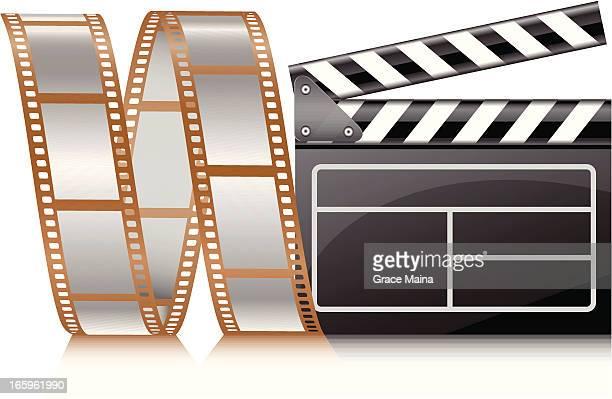 ilustraciones, imágenes clip art, dibujos animados e iconos de stock de carrete de película-vector - rollo de cine