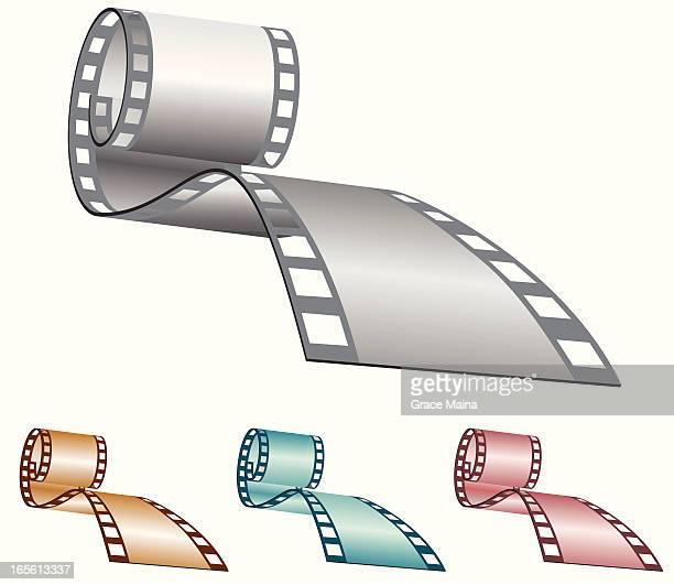 ilustraciones, imágenes clip art, dibujos animados e iconos de stock de carretes de película-vector - rollo de cine