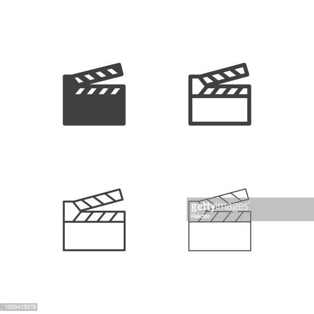 film slate icons - multi series - film premiere stock illustrations