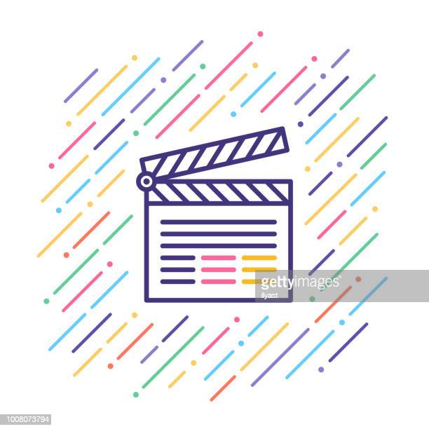 film slate line icon - producer stock illustrations, clip art, cartoons, & icons