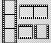 Film strip photo frame vector template isolated on transparent checkered