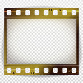 Film Strip Vector. Cinema Of Photo Frame Strip Blank Scratched Isolated On Transparent Background