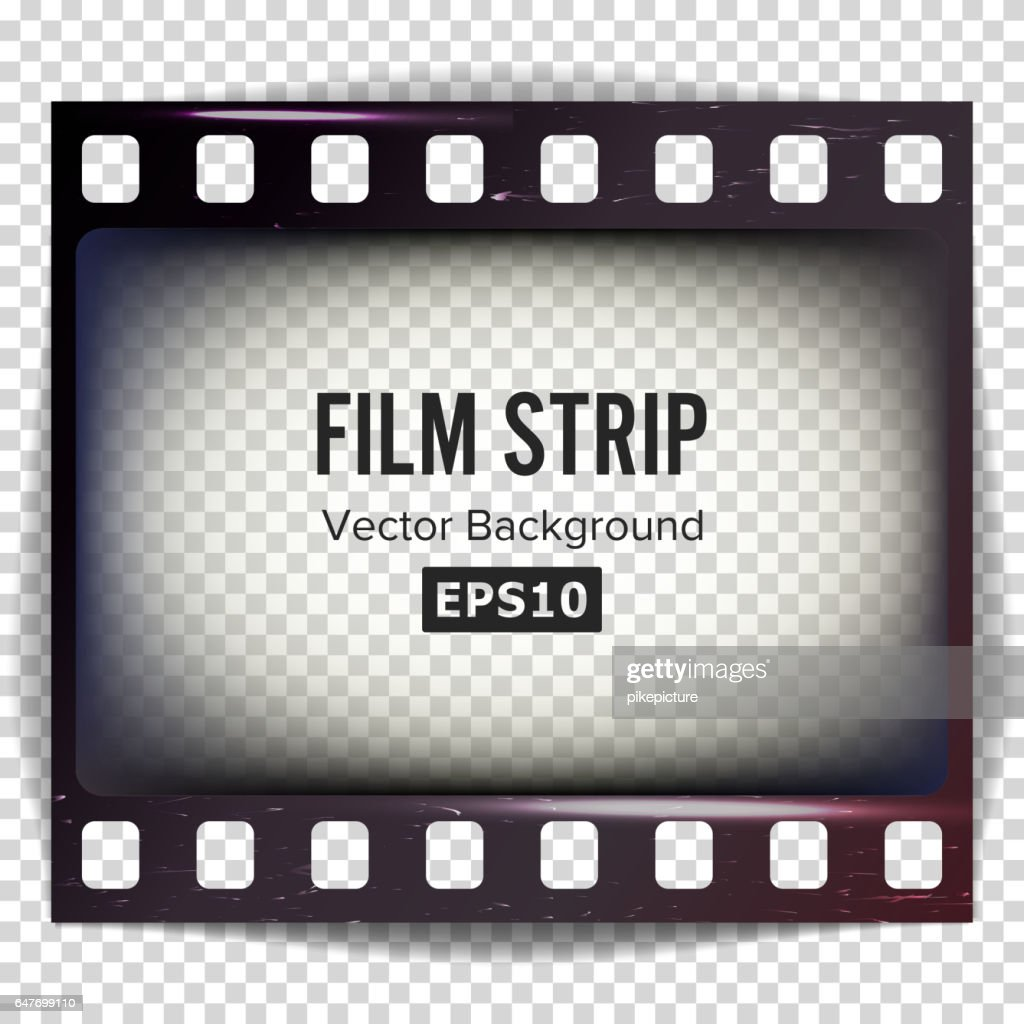 Film Strip Vector. Frame Strip Blank Scratched Isolated On Transparent Background