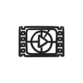 Film strip with play button sketch icon