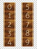 Film strips. Final countdown. Real color vector illustration.