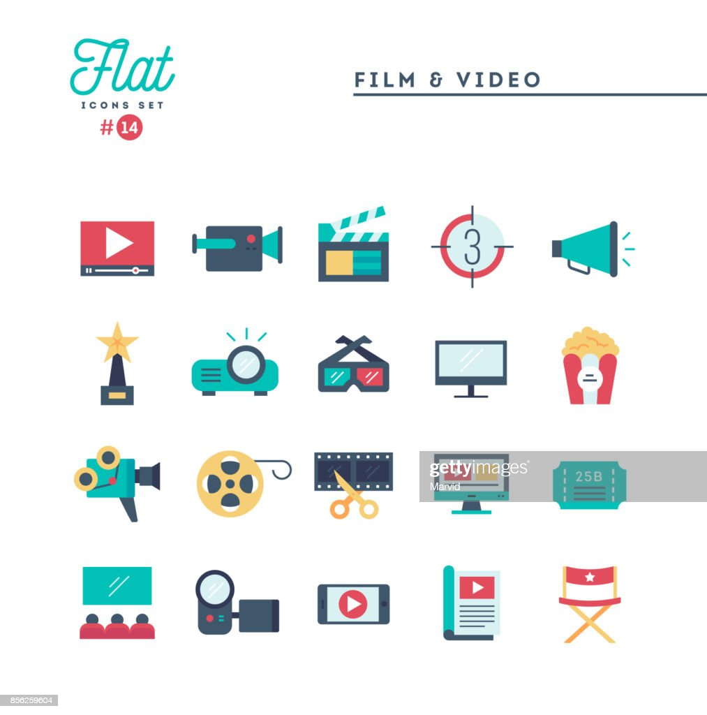 Film, video, shooting, editing and more, flat icons set