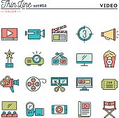 Film, video, shooting, editing and more, thin line color icons