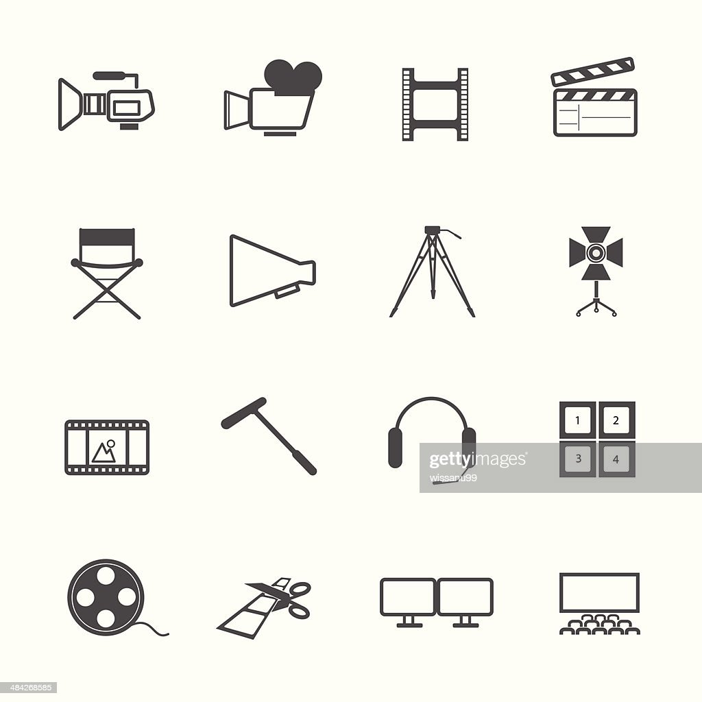 filming tool Icons movie vector