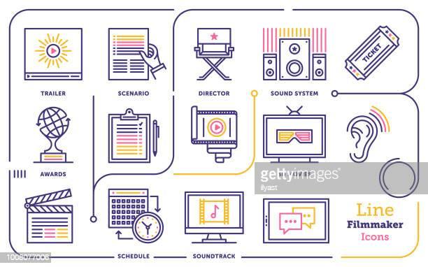ilustraciones, imágenes clip art, dibujos animados e iconos de stock de conjunto de iconos de línea cineasta - claqueta de cine