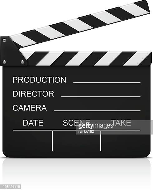filmmaker's clapboard against white background - film stock illustrations, clip art, cartoons, & icons