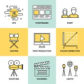 Films and post production flat icons