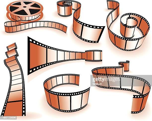 ilustraciones, imágenes clip art, dibujos animados e iconos de stock de películas strip (vector - rollo de cine