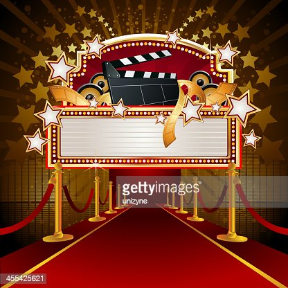 Filmy Marquee Display With Redcarpet Vector Art Getty Images