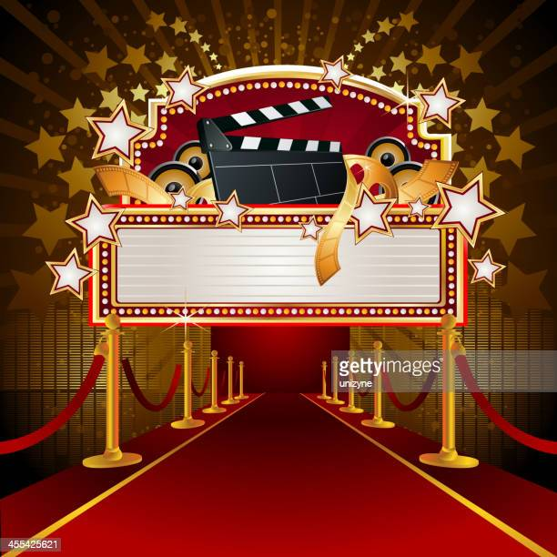 filmy marquee display with redcarpet - entertainment tent stock illustrations