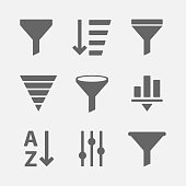 Filter icon vector set