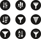 Filter objects icons industry set