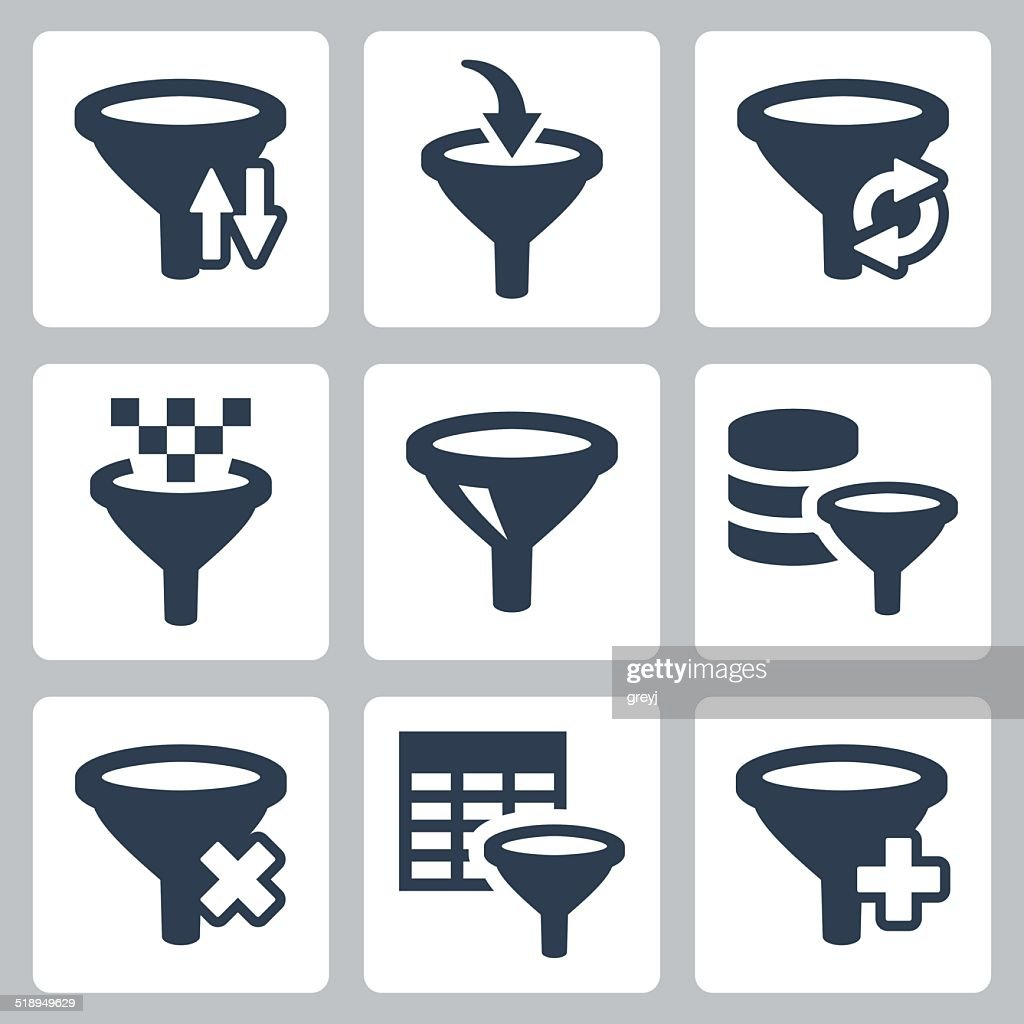 Filter related vector icons set