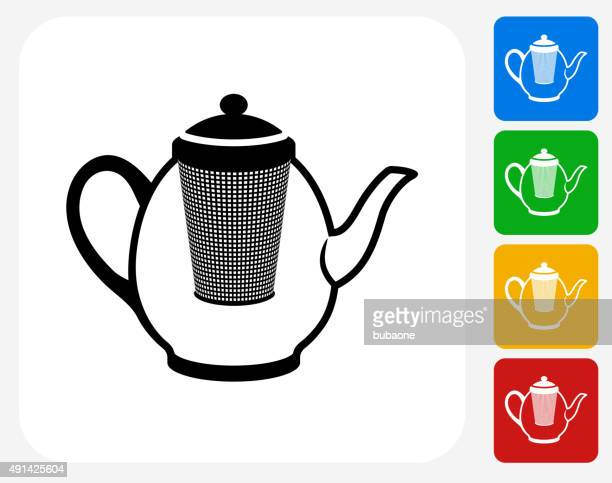 filtered tea pot icon flat graphic design - steeping stock illustrations, clip art, cartoons, & icons