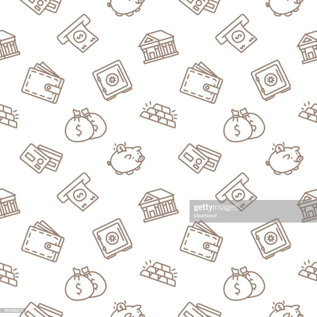 Finace and Banking Business Seamless Pattern Vector Background