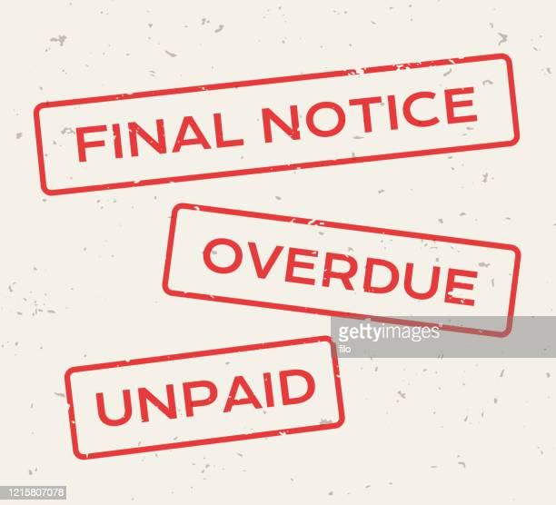 final notice overdue unpaid red stamps - receiving stock illustrations