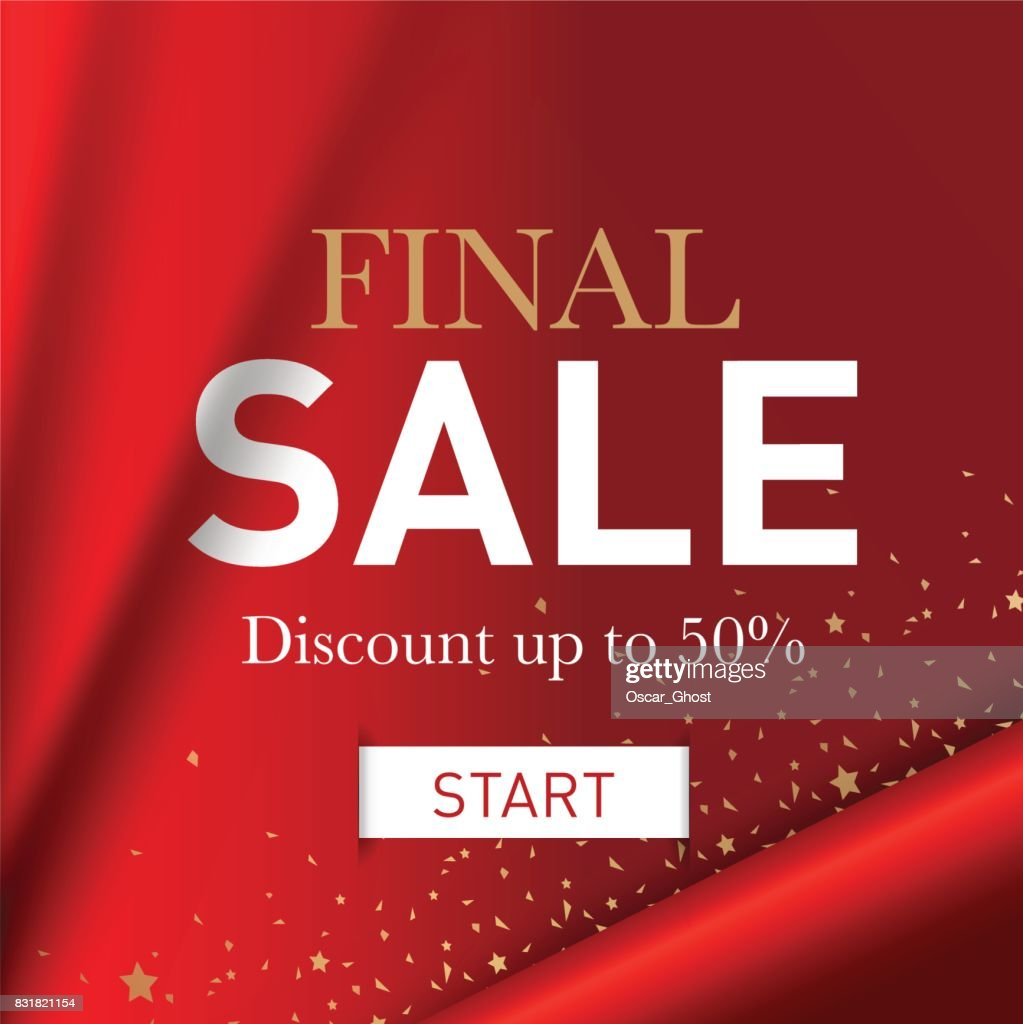 Final sale banner. Red background with golden shine. Banner template for promotions, advertising, web sites.