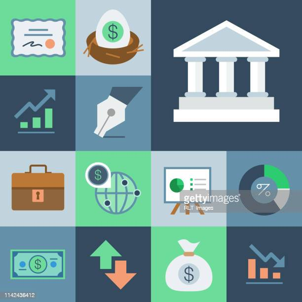 financal icon set — grid series - stock certificate stock illustrations