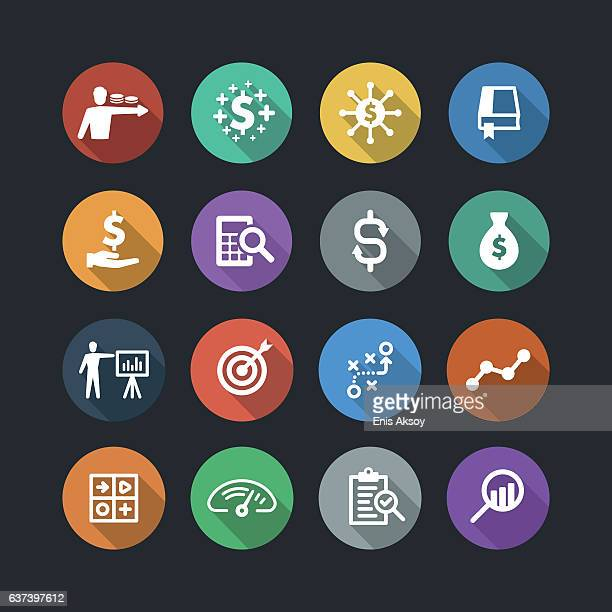 Finance and analysis flat icons