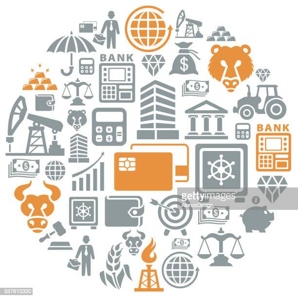 finance and banking collage - bull market stock illustrations, clip art, cartoons, & icons