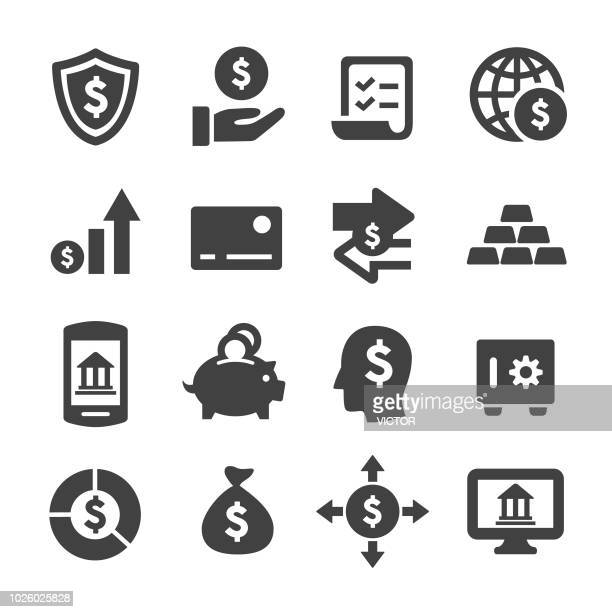 finance and banking icons - acme series - money bag stock illustrations